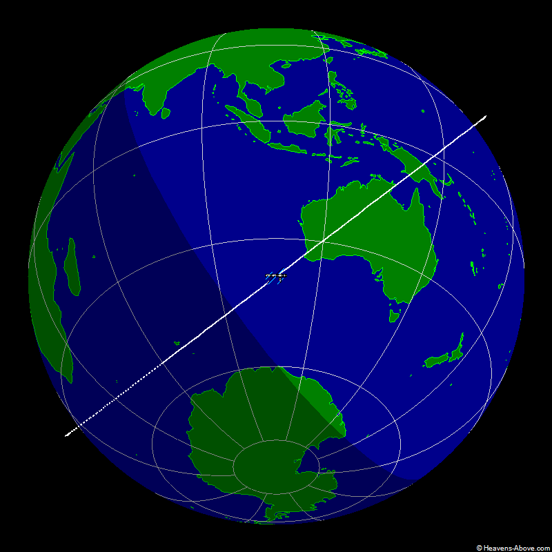 The position of the ISS at 1/2/2007 4:39:31 PM UTC