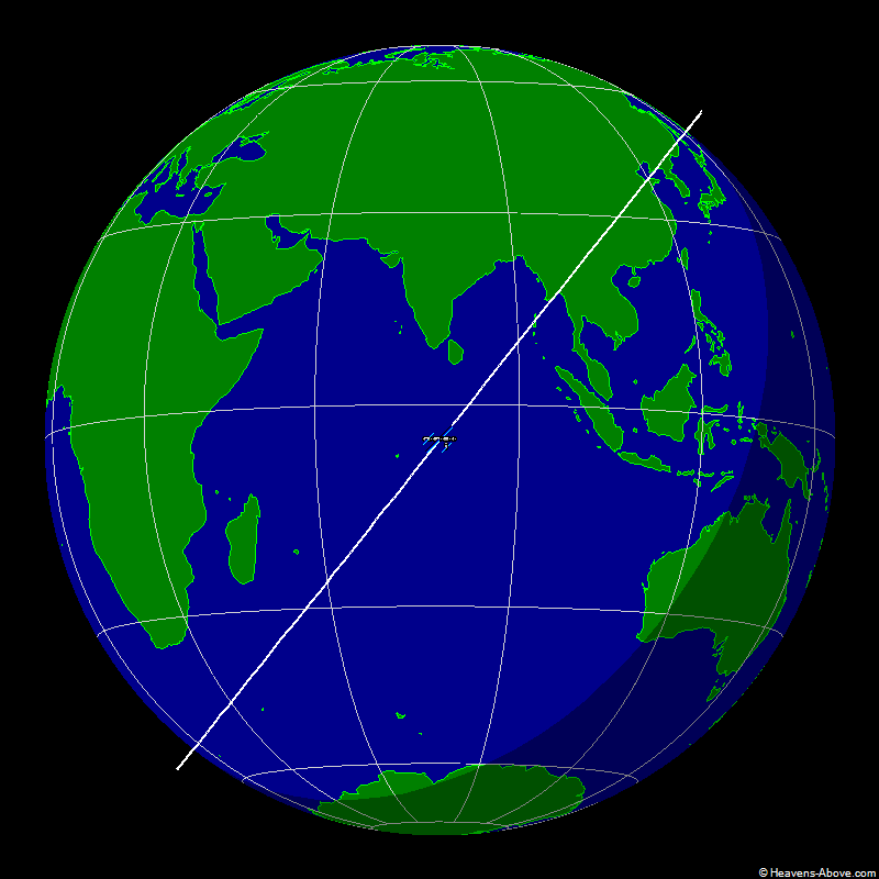 The position of the ISS at 1/11/2007 9:09:31 PM UTC