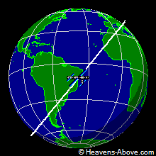 The position of the ISS at 7/23/2007 11:37:29 AM UTC