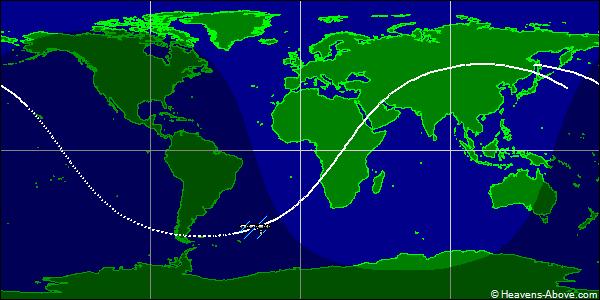 Проекция орбиты на поверхность Земли